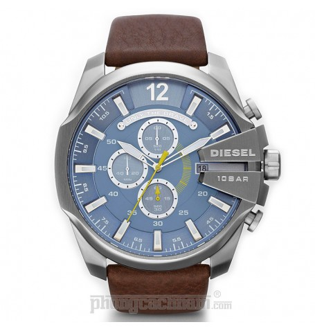 Đồng hồ nam Diesel - Mega Chief Brown Leather / Silver Tone Case 59mm x 51mm