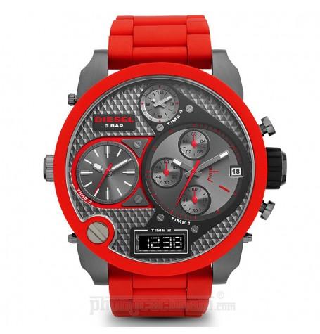 Đồng hồ nam Diesel - Mr Daddy Mega-Oversized Red Silicone / Gunmetal 64mm x 57mm