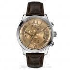 Đồng hồ nam Guess - Croco Embossed Brown Leather & Silver Case 45mm