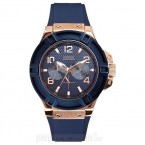 Đồng hồ nam Guess - Sporty Blue Silicone & Rose Gold Case / Blue Dial 45mm