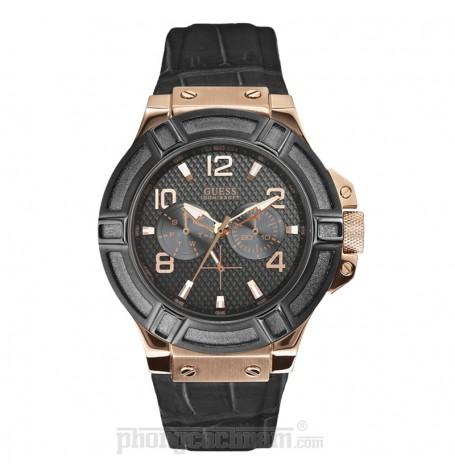 Đồng hồ nam Guess - Sporty Black Leather Strap / Rose Gold Case / Black Dial 45mm