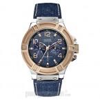 Đồng hồ nam Guess - Sporty Denim Blue Leather Strap / Silver Case / Denim Dial 45mm