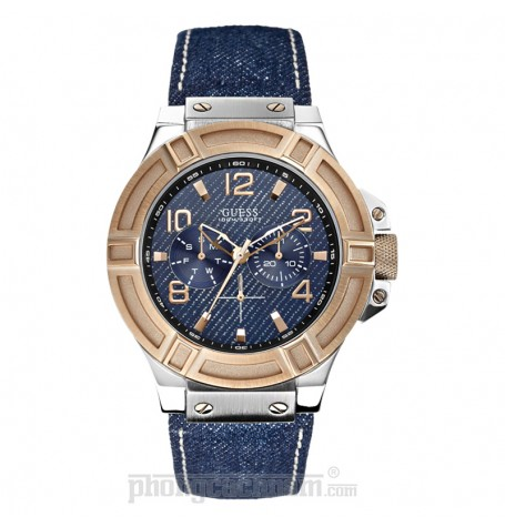 Đồng hồ nam Guess - Sporty Denim Blue Leather Strap / Silver Case / Denim Dial 45mm