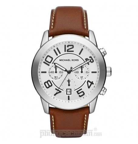 Đồng hồ nam Michael Kors - Oversize Brown Leather Mercer Chronograph 45mm