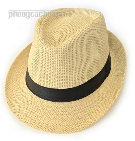 """Mũ nón panama fedora - PhongCachNam """"Fashionista"""" màu vàng đất vành nhỏ"""