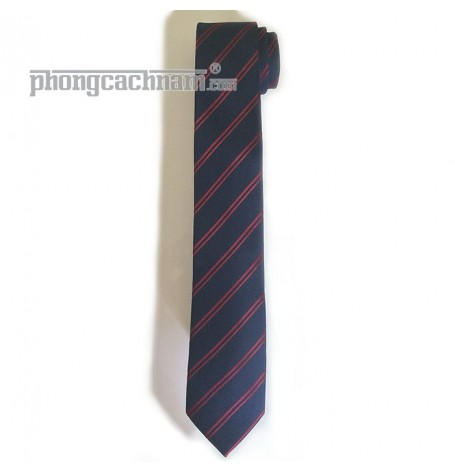 """Cà vạt bản trung (7cm) - PhongCachNam """"Trend Setter"""" màu xanh sậm sọc chéo"""