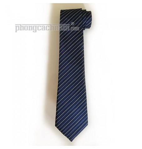 """Cà vạt bản trung (8cm) - Marco Cannavaro """"Ciao!"""" sọc xanh"""