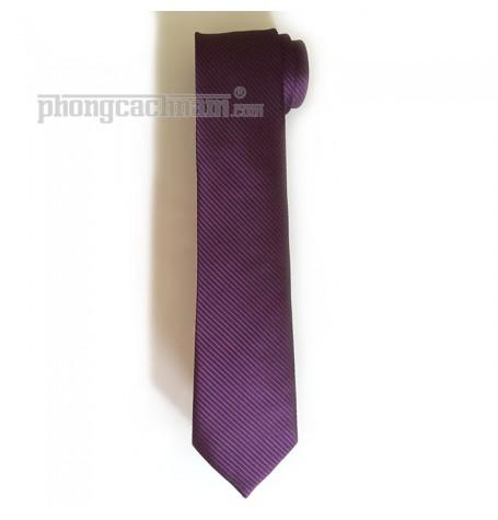 """Cà vạt bản trung (8cm) - PhongCachNam """"Soul - Purple"""" màu tím sậm"""