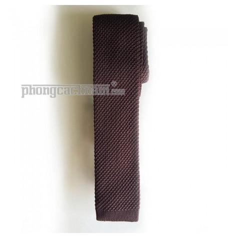 """Cà vạt len dệt kim bản nhỏ (5.5cm~6cm) - PhongCachNam """"Fashionista"""" màu cà phê"""