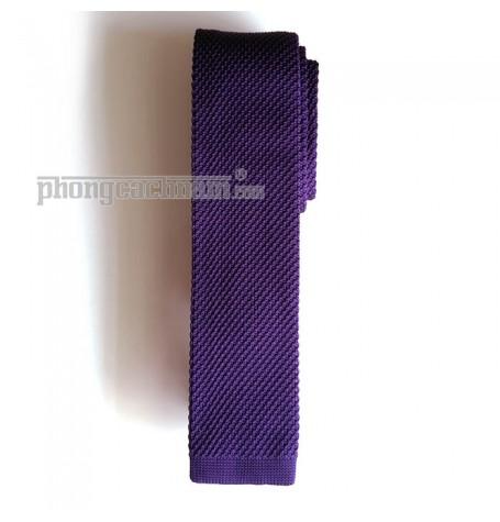 """Cà vạt len dệt kim bản nhỏ (5.5cm~6cm) - PhongCachNam """"Fashionista"""" màu tím sậm"""