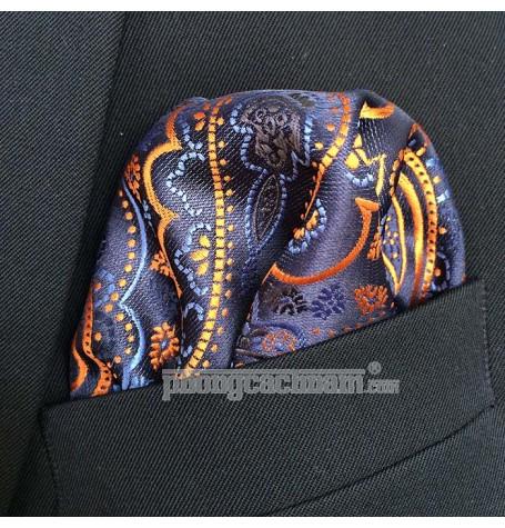 "Khăn túi áo vest - Pocket Square - Marco Cannavaro ""Blue Fire"" 30cm x 30cm"