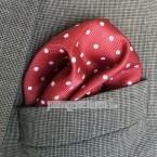 """Khăn túi áo vest - Pocket Square - Marco Cannavaro đỏ chấm bi """"Passion Dots"""" 30cm x 30cm"""