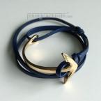 """Vòng tay nam - PhongCachNam """"Urban Style"""" mỏ neo vàng / da xanh"""