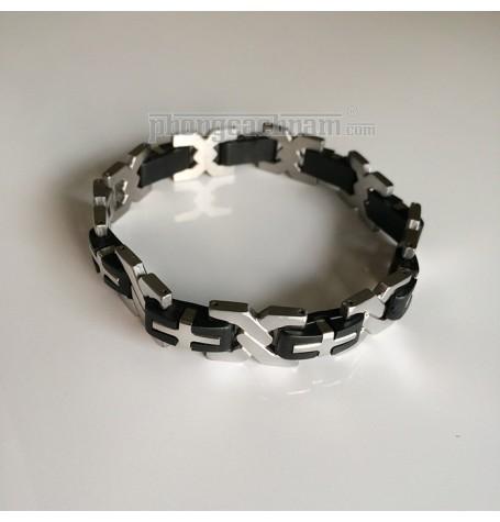 """Vòng tay nam - PhongCachNam """"Urban Style"""" X-Plus - màu bạc / đen"""