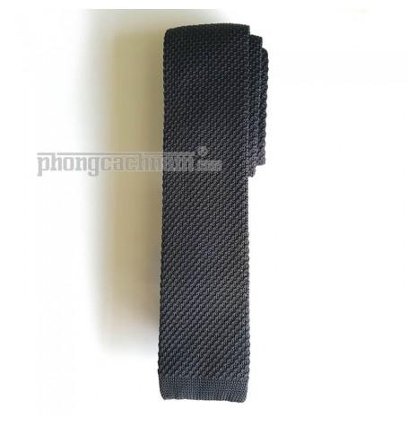 """Cà vạt len dệt kim bản nhỏ (5.5cm~6cm) - PhongCachNam """"Fashionista"""" màu đen rêu"""
